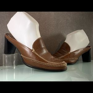 Franco Sarto Brown Slip-On Loafer Chunky Heel Sz 7